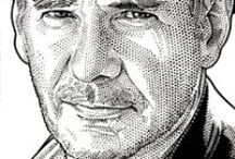 """Wall Street Journal Hedcuts / Hedcut is a term referring to a style of portraiture most often associated with The Wall Street Journal. These iconic drawings use a variation of the traditional stipple method of many small dots of varied sizes in conjunction with minimal line. They are designed to emulate the look of woodcuts from old-style newspapers and engravings on certificates and currency. The phonetic spelling of """"hed"""" comes from newspapers use of that term for """"headline"""