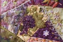 Crazy Quilts & Fabric Art ❦ / Gathering ideas for some quilts I've got in mind, made from the bits and pieces of art, ribbons, pretty threads, fabrics, and such that I've got in my stash. / by Cat Bounds