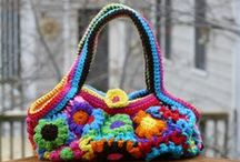 A flowered fat bag for spring / This is a fat bag made using Yoko Hatta's Flower Blossom Purse / by Crochetbug