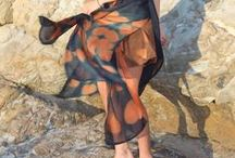 Eucalyptus dyed wearables / Australian wearables made from silk and wool,  using Gondwana Colour - natural dye for protein fibres made from eucalyptus leaves. colours used Wollumbin Red and Chincogan Gold
