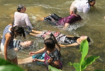 The River and the Ngar Ceremony  with Indigenous Iban weavers of Rumah Garie  / conclusion of the Ngar - such priviledge, amazing sisterhood to be welcomed into a traditional ceremony generations old. Nancy helping me navigate  rocky waters