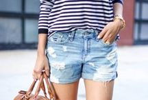 spring & summer fashion / denim shorts, bright colors, ray bans, and sonic trips