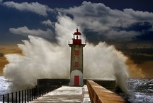 """Lighthouses / """"...which stood on rocky shores and kept the beaches shipwreck-free....""""  / by Stephanie Terry"""