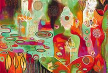 Art: Flora Bowley / Intuitive art and symbolism. Vibrant colourist, Flora Bowley who runs the transformational painting e course, Bloom True online.