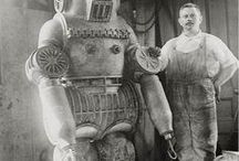 Diving Suits / Collection of underwater pressure suits from various time periods.