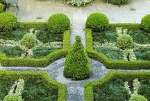 """P"" is for Parterre Gardens / A parterre is a formal garden constructed on a level surface, consisting of planting beds, typically in symmetrical patterns, separated and connected by gravel pathways. Beds may be edged in stone or tightly clipped hedging and may not contain flowers.  French parterres originated in 15th-century gardens of the French Renaissance often taking the form of knot gardens. The French parterre reached its highest development at Versailles."