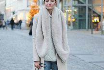 Looks I'm loving / big chunky scarves, cozy sweaters, fur, gold jewels, neutral everything = LOVE / by Sarah Watts