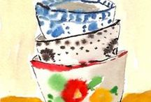 P a i n t e r l y   d e s i g n   i d e a s / Watercolour painting used to great effect in patterns and designs