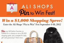 "Ali Shops ""Pin to Win"" Fest / Pin your fall fashion favorites on Pinterest for a chance to win a $1,000 shopping spree, plus compete for daily gift card giveaways, in our Ali Shops ""Pin to Win"" Fest, September 4–18, 2012."