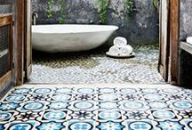 Granada Tile in the Bathroom / Looking for a little inspiration for your next bathroom tile installation? Look no further. From modern to traditional, we've got plenty of ideas—and cement tiles!  cement tile, concrete tile, encaustic tile #cementtile #cementtiles #concretetile #concretetiles #encaustictile #encaustictiles