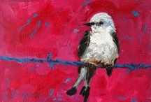 Colorful Birds Paintings / Cute birds on a wire, on a tree and in their own habitat. These paintings are available in prints  #Art for your #HomeDecor