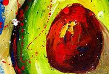 Colorful Avocado Paintings for Avocado Lovers / My crazy avocado paintings are the most popular collection. A perfect gift idea for the avocado lover in you or someone you know. They come as print, on canvas, on a coffee mug, on grocery bag or tote bug, phone cases and more. These paintings are available in print format. All originals sold!  #avocado #homedecor #decorative #colorfulpaintings