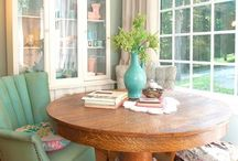 cozy and warm / My dream home. I love color. I love vintage and home made, and upcycled stuff. It needs to look pretty but comfortable and be the kind of place teens, grandkids and friends could all enjoy.