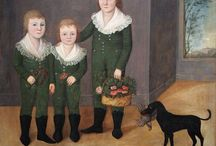 Antique Folk Art portraits / Portraits of men, women, children and families done by folk artist mostly in the 19th century / by Martha Thomas