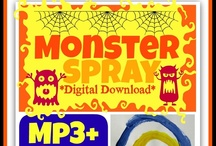 """Monster Spray (Song) / """"Once upon a time in my dark, dark room there were monsters..... creepy monsters. Big, tall hairy ones, invisible scary ones, irrational airy ones -- airy ones -- airy ones: monsters in my room.""""  The punch line to the song is, """"My mom bought me.......... MONSTER SPRAY!!!!""""  / by Debbie Clement"""