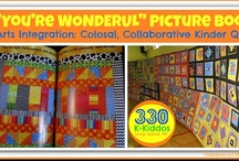 """""""You're Wonderful"""" picture book  / This board is to support all sort of extension ideas from my song & it's picture book format, """"You're Wonderful."""" I made the illustrations for my book from bright & graphic fabrics as small quilts. The quilts/illustrations are non-representational filled with patterns, shapes and open-ended color. The pins I've chosen reflect those colors, the lyric words and the black & white graphic elements. My book includes a CD recording of the song, as well as a chart of sign language to support the book's text.  / by Debbie Clement"""