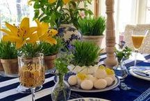 EASTER / Easter and Spring table decor and Easter egg dyeing ideas,