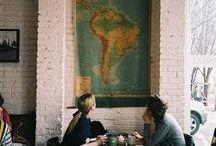 | coffee shop | / cafeterias · decoração industrial · lugares aconchegantes · café