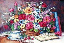 *FLOWERS & PLANTS IN ART* / A BOARD SHOWING FLOWERS & PLANTS IN ART.