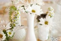 MILK GLASS / Pictures of milk glass displays. Weddings, bookshelves, tabletop, collections