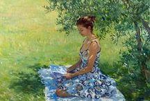 Reading in the open air / Чтение на природе / Reading in а garden, on a terrace, in the park / Чтение в саду, на террасе, в парке / by Galina Egorova