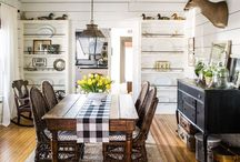 Farmhouse tables / Want planks on top going from end to end, not side to side.  No bars connecting table legs to allow more room for chair legs.  Smooth honey color finish.  Corners slightly rounded rather than square.  Would love a drawer.  Narrow top is good.  Paint chairs black and use red chairs on ends. / by Linda Sikes
