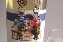 The Wine Bar / Rock & Metal Treasures hand-crafted wine bottle and wine glass charms.