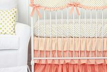 Coral Nursery Inspiration / Coral is such a perfect color for a baby girl's nursery. Caden Lane has a huge selection of Coral Baby Bedding that you can find here and other inspiration to complete the look!