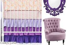 Purple Nursery Inspiration / Purple is so chic in the nursery and we have tons of purple crib bedding sets to choose from at CadenLane.com. Browse around and find some inspiration!