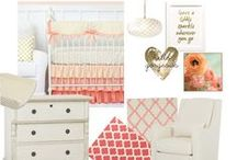 "Coral and Gold Baby Nursery Ideas / Ideas for Coral and Gold Nursery designs from yours truly at Caden Lane :) Coral and Gold in the nursery is the ""it"" thing and we are here to help guide you in the right direction!"