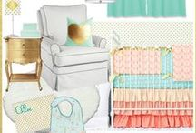 Coral & Mint Nursery Inspiration / Ideas for a Coral & Mint color themed nursery! Caden Lane has tons of bedding sets in these trendy colors. We are always looking for nursery inspiration and ways to help you incorporate them in your baby's nursery!