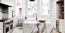 Counters / I am a huge fan of natural stones such as marble, soapstone, or Jerusalem stone to name a few. Products from nature can be breathtaking but I am always on the lookout for engineered surfaces that offer beauty at affordable pricing.