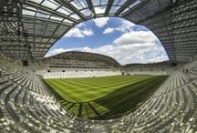 Jean Bouin Stadium by architect Rudy Ricciotti / Game time! The newly renovated Jean Bouin Stadium in Paris welcomes sporting fans once more, complete with innovative and beautiful latticework designed by Rudy Ricciotti and made of our Ductal concrete! / by Lafarge