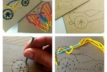 Hand sewing with kids