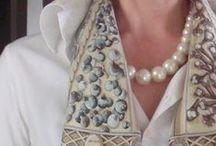 Aux Pays des Epices / 'Aux Pays des Epices' 90 Hermes scarf - knots, style sheets and mood boards. Collection: AW2008. CW: Marron Glace/Blanc/Vert De Gri. Design by Annie Faivre (orig. issued 2001).
