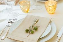 Details | Place Settings / Table set-up with napkins, chargers, glasses and place cards