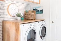 laundry room / Laundry room crafts, makovers, DIY signs, shelving, styling