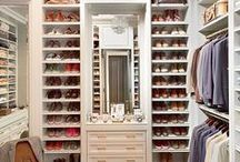 closet / Beautiful walk-in closet styles, paint, cabinets organization.