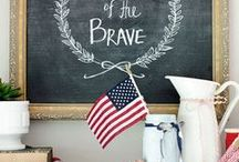 patriotic / 4th of July crafts, printables, party ideas, food, Red white & Blue, Memorial Day, Presidents Day