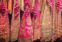 Bridesmaids/Bridal Party Indian Wedding Outfits / Indian Wedding Outfits Bridal Party Mehendi designs Bridesmaid sarees Bridal lehengas