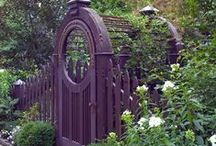"""Garden Gates / """"Garden gates may be practical, romantic, or ornamental; they may serve to keep the world out or entice it in. Whether they are made of metal or wood, designed as solid or openwork, the siting, color, and surroundings are all key design elements to consider."""" Rosemary Verey from The Garden Gate"""