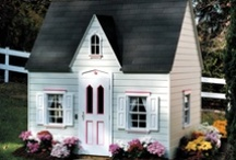 Play Houses to Dream About / Once upon a time a little girl in my neighborhood would invite us to help her spring house clean her playhouse. Thus began a life long love, the hope that I would have  a playhouse of my own. The closest I came was owning a very beautiful dollhouse. I have given one of those low cost plastic houses to a granddaughter and watched her play in and out in the back yard. I never miss photographing a playhouse if I find one. Thank you @Pinterest for a place I can pin the houses I continue to WANT.
