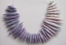 Crocheted, Felted, Knitted jewelry,Textile Art / fiber art