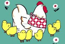Chickens and Waterfowl / Cards, prints, and fabric blocks made from my collection of vintage ephemera. / by KatyDids Cards