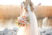 Peach & Coral Weddings / Bridal Gown Inspirations for Peach weddings and Coral Weddings. Wedding gowns, Bridesmaid Gowns, Bridal Cakes, Weddings Flowers