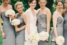 Grey Weddings / Bridal Gown Inspirations for Grey weddings and Pewter Weddings. Wedding gowns, Bridesmaid Gowns, Bridal Cakes, Weddings Flowers