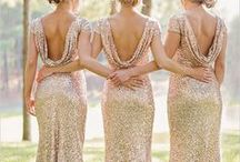Gold Weddings / Bridal Gown Inspirations for Gold weddings and Glitter Weddings. Wedding gowns, Bridesmaid Gowns, Bridal Cakes, Weddings Flowers