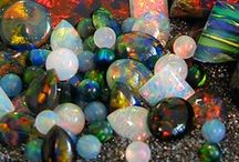 """Opals / Opals are precious gemstones. The word opal originates from the Greek word """"opallos"""" which means """"to see changing of color"""". Opals are composed of non-crystalline silicon gel which over a period of millions of years has hardened and appears in forms of small silica spheres arranged in some kind of regular pattern. / by Lisa Granados"""