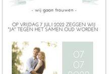 Langwerpige trouwkaarten / Lange smalle trouwkaart met trendy designs van Stijlvolle Trouwkaarten