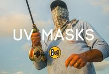 UVX Mask BUFF® / Pull the contoured UVX Mask Buff up over the back of your head (and hat if you like) to protect the neck, ears and head from sunburn. UVX products can be tucked in or worn outside the shirt---either way protecting the shoulders and upper chest from exposure. Breathing holes provide breathability and prevents sunglass fog up and durable flat lock seams are soft on the skin.